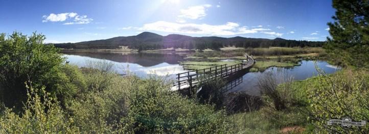 View of Manitou Lake behind beaver ponds.