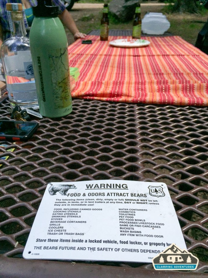 Be bear aware! Gore Creek CG, Vail CO.