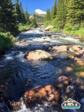 The damn out of the Brainard Lake. S. St. Vrain.