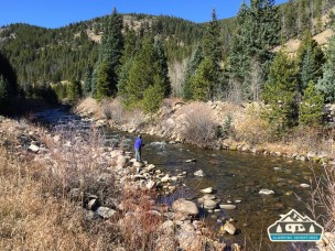 Fly fishing on Boulder Creek, CO.