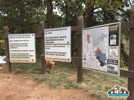 Maps throughout the area. Leaving Manitou Experimental Forest. Rampart Range Recreation Area