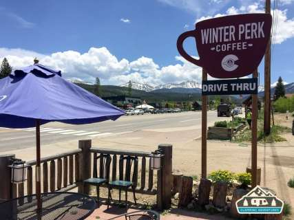 Stop in at Winter Perk for a latte, coffee, or a snack. Winter Park, CO.