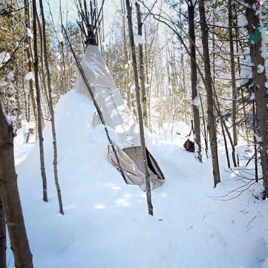 Tipi at Ontario Winter Camping