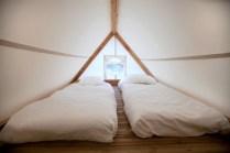 Espace nuit Tente Cocoon 6 personnes au glamping Camping Les Moulins à La Guérinière Pays de la Loire