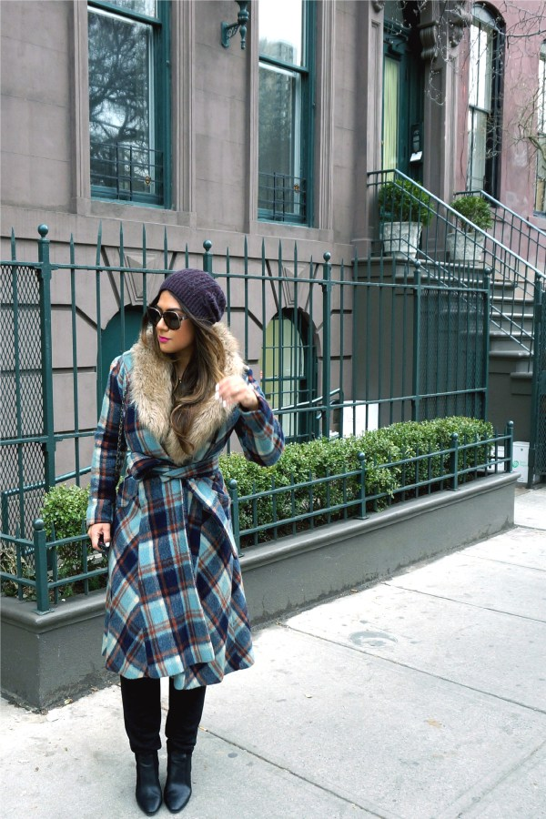 Vintage Plaid Wrap Coat