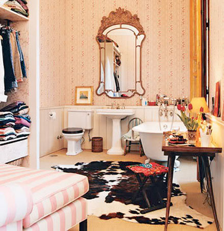 Cowhide rug bathroom