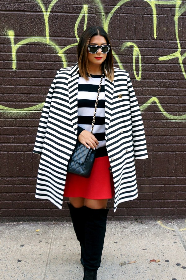 Asos Coat in Lightweight Stripe