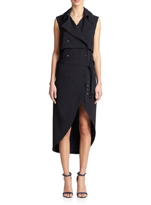 Haute Hippie Sleeveless Hi-Lo Trench Dress