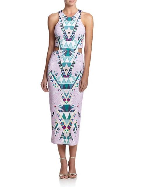 Mara Hoffman Printed Ponte Cutout Midi Dress