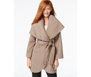 Tahari Wool-Blend Wrap Coat