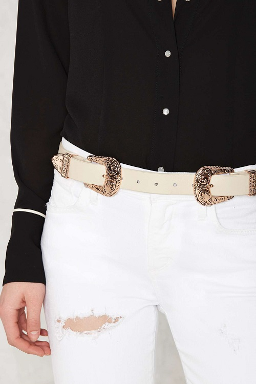 BTB by B-low The Belt Vegan Leather Double Buckle Belt