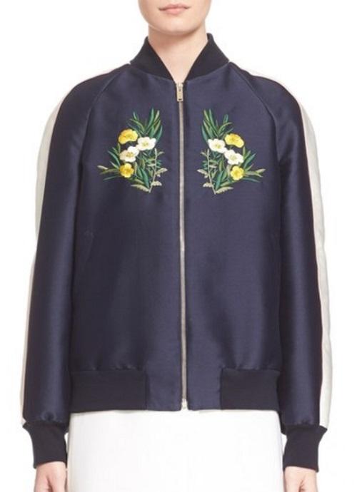 Stella McCartney Lorinda Floral Embroidered Bomber Jacket