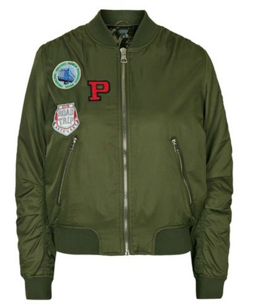 Topshop Bruce Patch Bomber Jacket