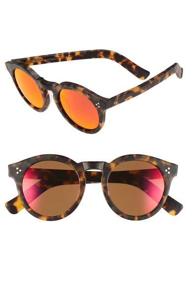 Illesteva Leonard II 50mm Round Mirrored Sunglasses