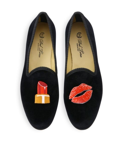 Del Toro Lipstick Kiss Velvet Smoking Loafers