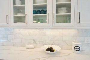 Carrara Marble Subway Tile Backplash