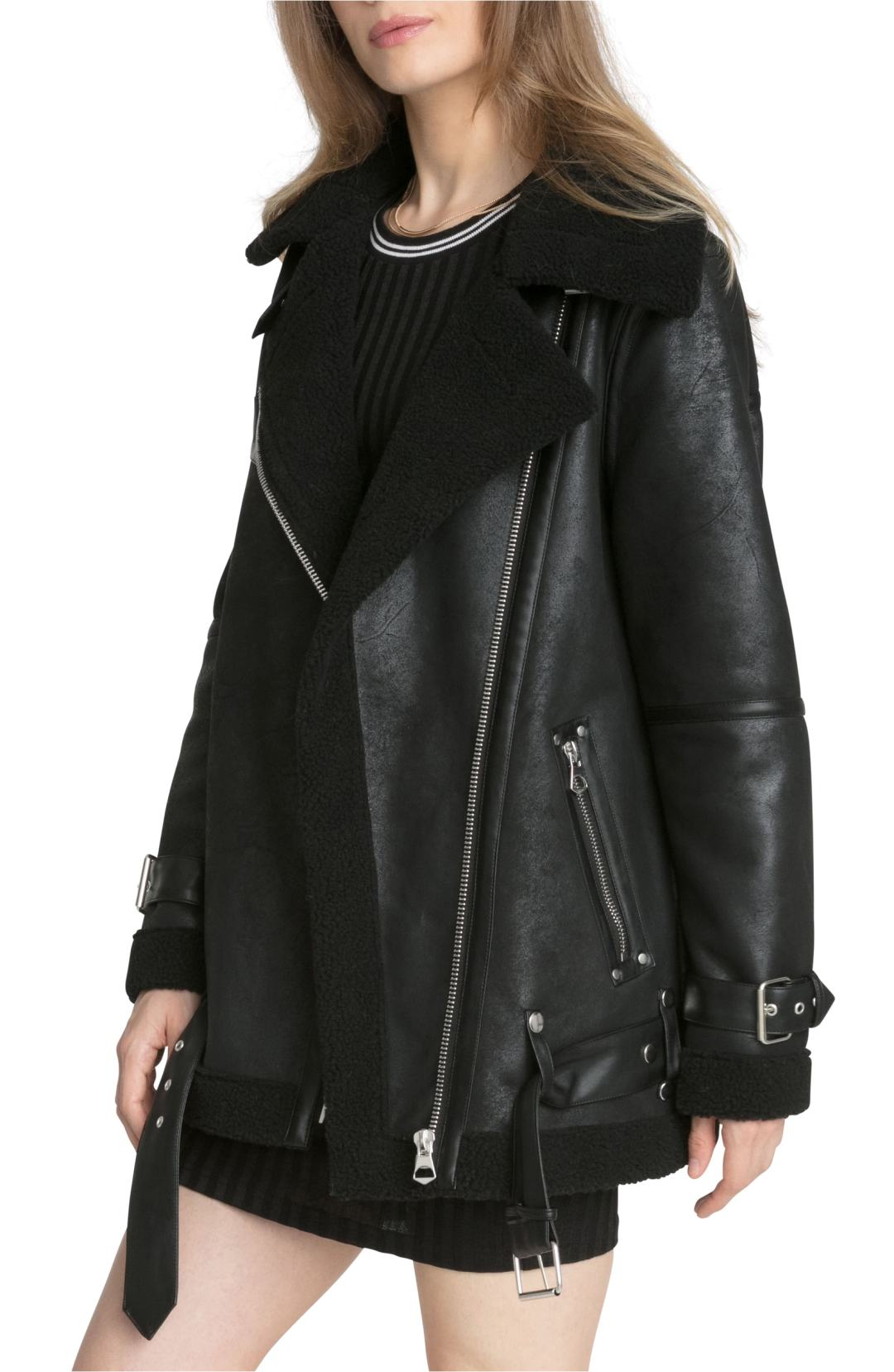 avec les filles faux shearling biker jacket