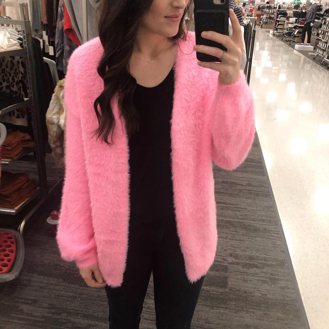 Women's Long Sleeve Open Front Fuzzy Cardigan Wild Fable Target Trendsetter