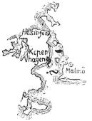 Das liegende Fragezeichen als Brücke über den Fluss zwischen Malmö und Kopenhagen = Öresund; das anführende Apostroph (nach Kopenhagen) als häufiges Auslassungszeichen im Rebus = und - Rebus Exkurs Glarean Magazin
