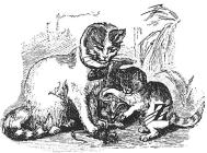 DieKatzen ohne das Z (durchstrichen) = katen = Advokaten - Rebus Exkurs Glarean Magazin
