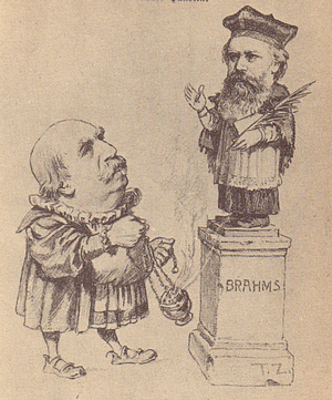 Der gefürchtete Musik-Kritiker Hanslick beweihräuchert Johannes Brahms (Zeitgenössische Karikatur)