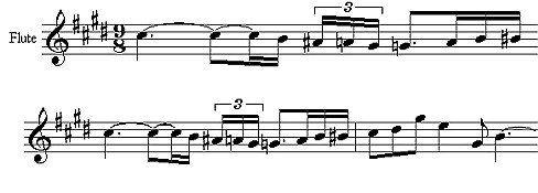 Flöten-Motiv aus Claude Debussys