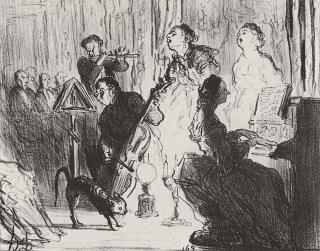 Honore Daumier - Ein Orchester in einem sehr feinen Haus in dem man sich das Vergnügen leistet Operette zu spielen - Musiker-Anekdoten - Glarean Magazin