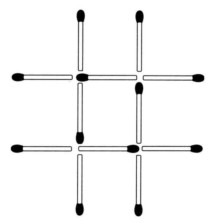 Drei Streichhölzer sollen so umgelegt werden, dass drei gleich große Quadrate entstehen (November 2009)