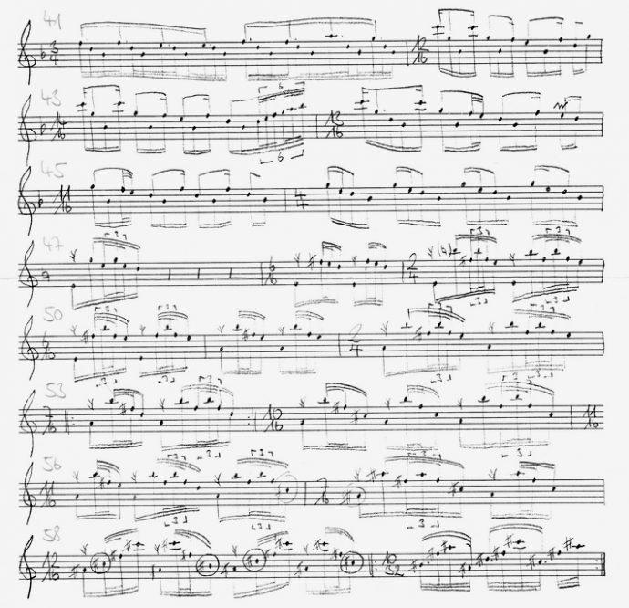 Drehungen um einen kompositorischen Kern: Autograph des Stückes «Cycles Part 1» für Saxophon solo von Hans-Christian Dellinger