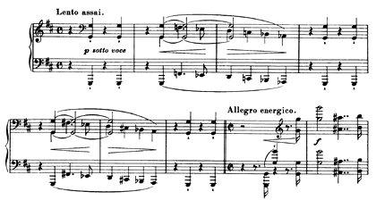 Anfang der Lisztschen h-moll-Klaviersonate: