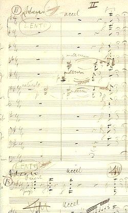 Elgar: Autograph-Seite des Cello-Konzertes