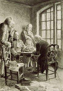 Falsches Training: Aufklärer Rousseau (r.) beim Schachspielen gegen den Prinzen Conti (Cousin von Louis XV)