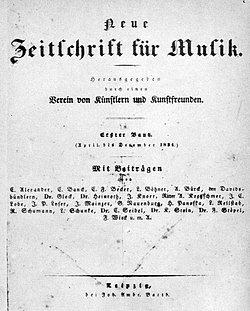 «Innige Verbindung von Musik und Dichtung»: Die von Schumann gegründete «Neue Zeitschrift für Musik» (1834)