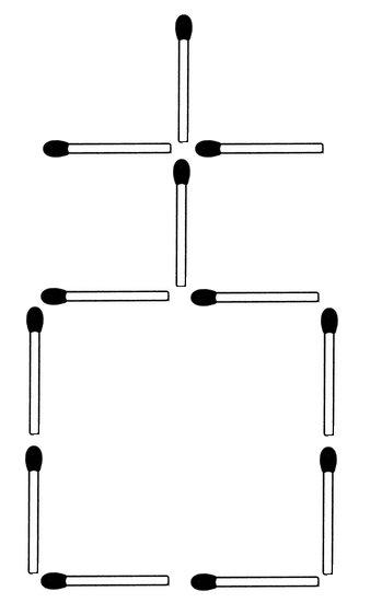 Die Aufgabe: Legen Sie fünf Streichhölzer so um, dass drei Quadrate entstehen