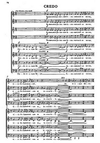 Musikalische Spiritualität von höchster Authentizität: Anfang des Credo aus der Messe für Doppelchor von Frank Martin
