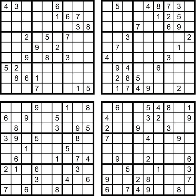 Sudoku-Quartett-Rätsel-Aufgaben - Dezember 2016 Glarean Magazin