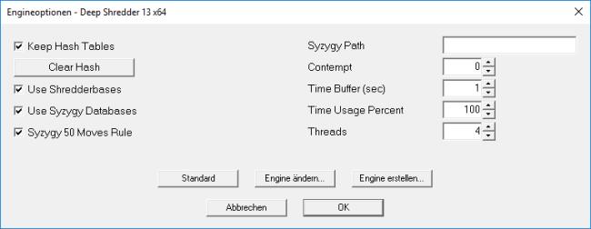 Abgespeckte Optionen der Engine-Optionen im neuen Shredder 13
