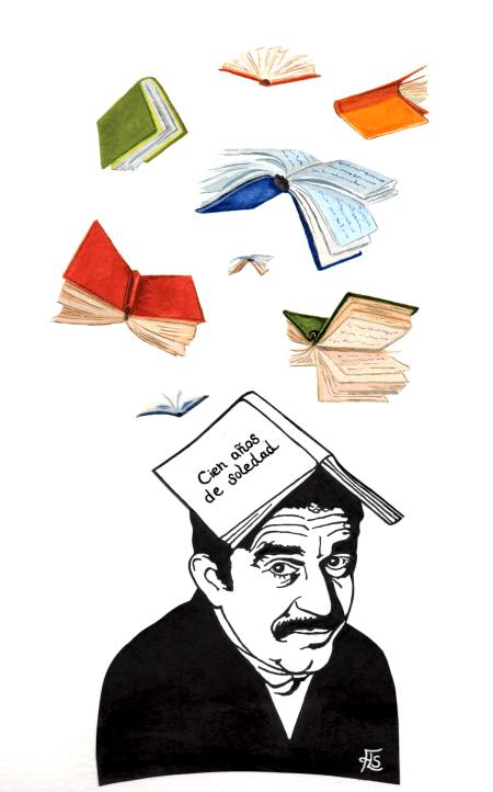 Gabriel García Márquez lässt Bücher regnen - Scherenschnitt Juni 2017 - Simone Frieling (Glarean Magazin)