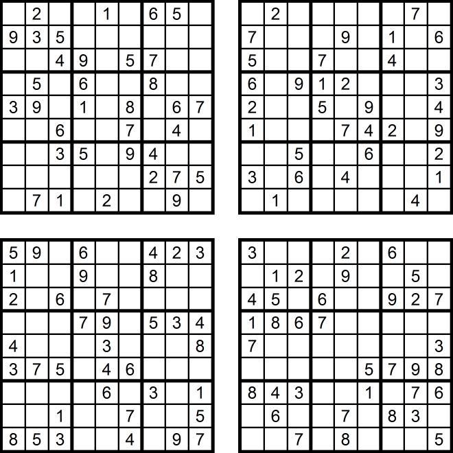 Vier sehr einfache Sudoku-Rätsel (Juni 2017) - Aufgaben