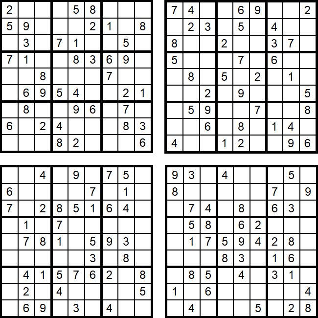 Vier einfache Sudoku-Rätsel - Aufgaben und Lösungen (August 2017)