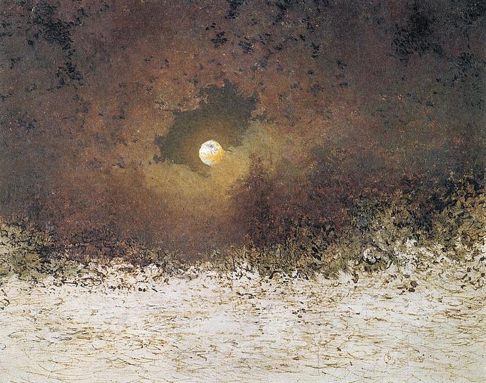 """Der Biedermeier-Dichter Adalbert Stifter als Maler: """"Mondlandschaft mit bewölktem Himmel"""" (1850)"""