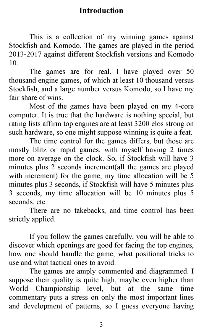 "Leseprobe 1 aus L. Tsvetkov: ""Human versus Machine - How to beat Stockfish and Komodo"""