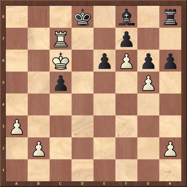 Gewinn nach Königswanderung übers ganze Brett: Die Schluss-Stellung der Partie (2) in Kramnik-Topalow, Amber-Turnier Monte Carlo 2003 (Hier findet sich eine taktische Analyse der Partie durch moderne Schach-Software)