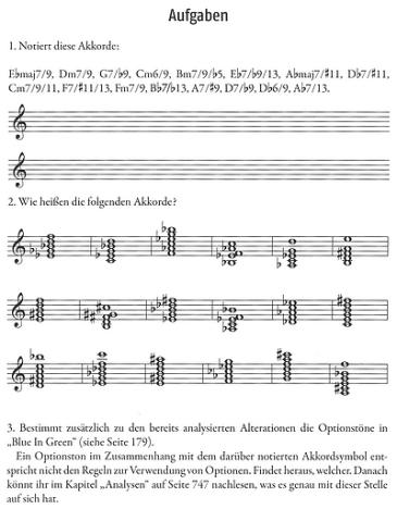 Häufig eingestreute Aufgaben erlauben dem Leser eine Standort-Bestimmung des Gelernten (Rock & Jazz Harmony - Aufgaben-Beispiele)