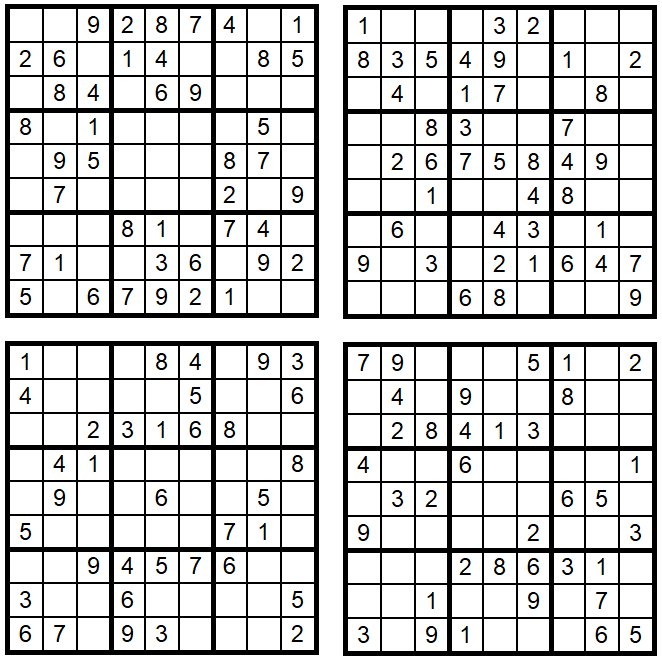 Vier einfache Zahlen-Puzzle-Rätsel - Sudoku-Quartett August 2018 - Copyright Glarean Magazin
