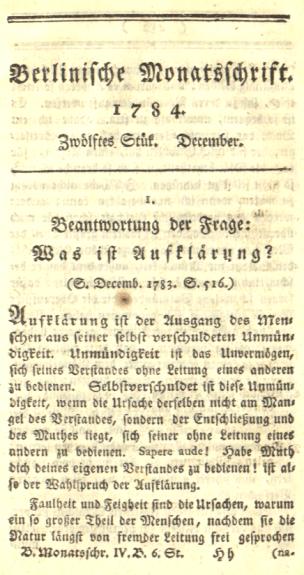 Immanuel Kant - Beantwortung der Frage - Was ist Aufklärung - Glarean Magazin