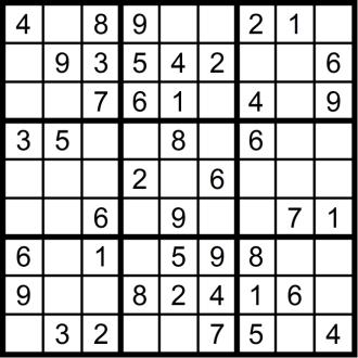 Sudoku 2 - November 2018 - Aufgabe - Glarean Magazin