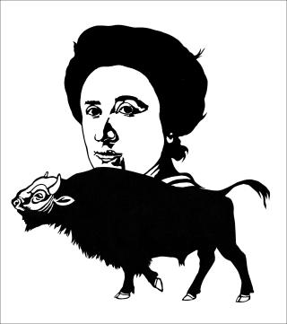 Rosa Luxemburg & Büffel - Scherenschnitt - Simone Frieling - Glarean Magazin