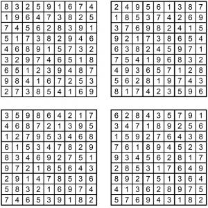 Sudoku 1-4 - Juli 2019 - Lösungen