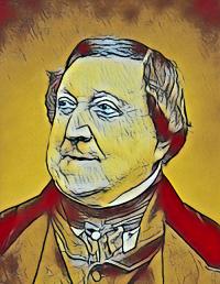 Karikatur Gioacchino Rossini - Musiker-Anekdoten - Glarean Magazin
